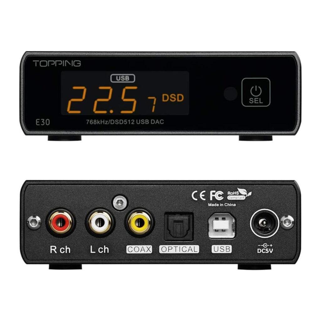 Audio DAC Topping E30. DAC externo para escritorio. y trasera.Diseño y vista frontal.
