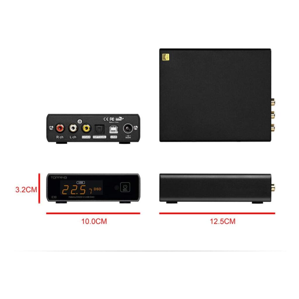 Audio DAC Topping E30. DAC externo para escritorio. Características y tamaño.
