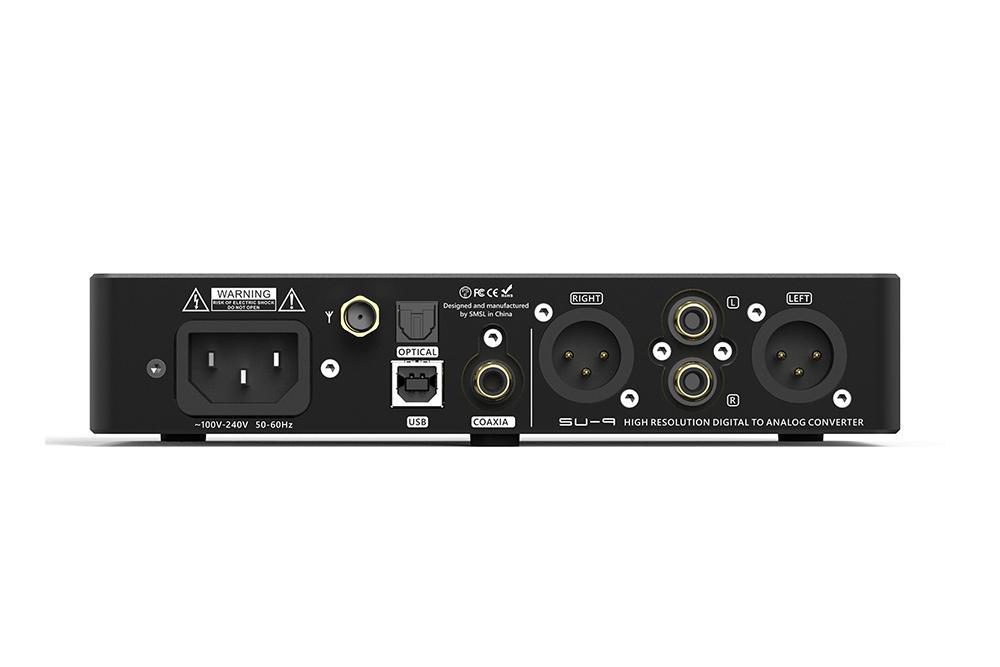 Audio DAC SMSL SU9 MQA decodificador ES9038PRO DAC XMOS DSD512 PCM768kHz 32Bit conexiones traseras