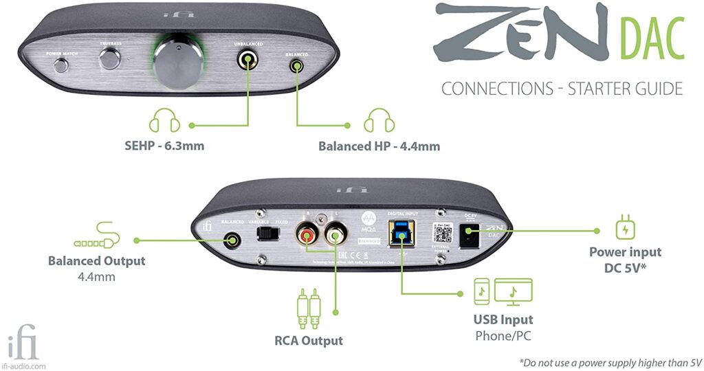 Conversor de audio digital a analógico iFi Audio Zen DAC, conexiones disponibles