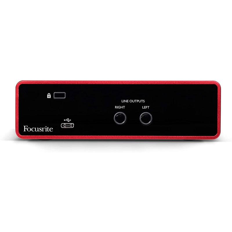 Interfaz de audio USB Focusrite Scarlett Solo de 3ra generación, conexiones traseras