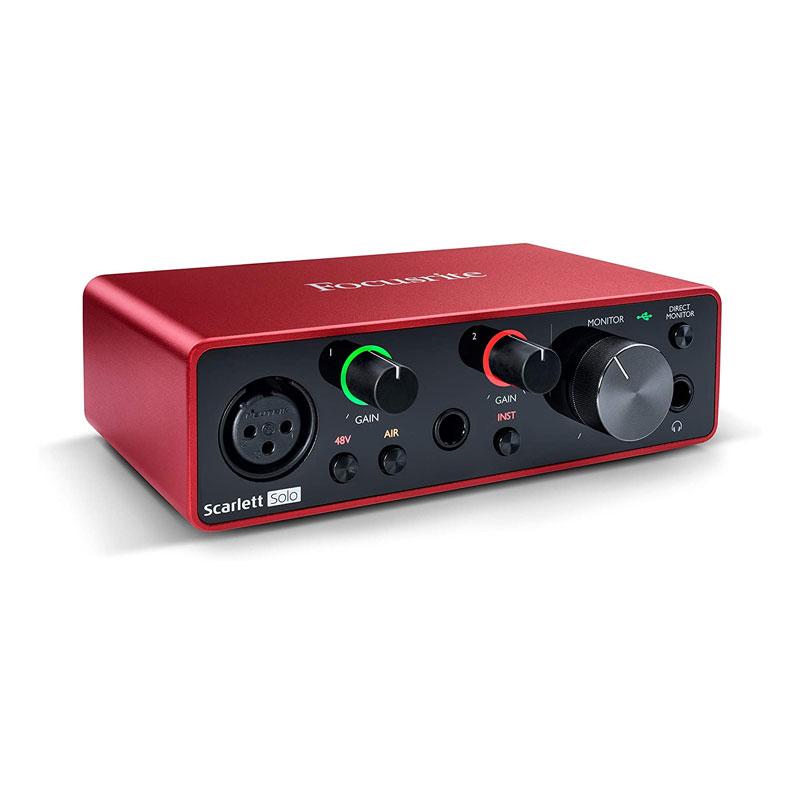 Interfaz de audio USB Focusrite Scarlett Solo de 3ra generación, vista frontal